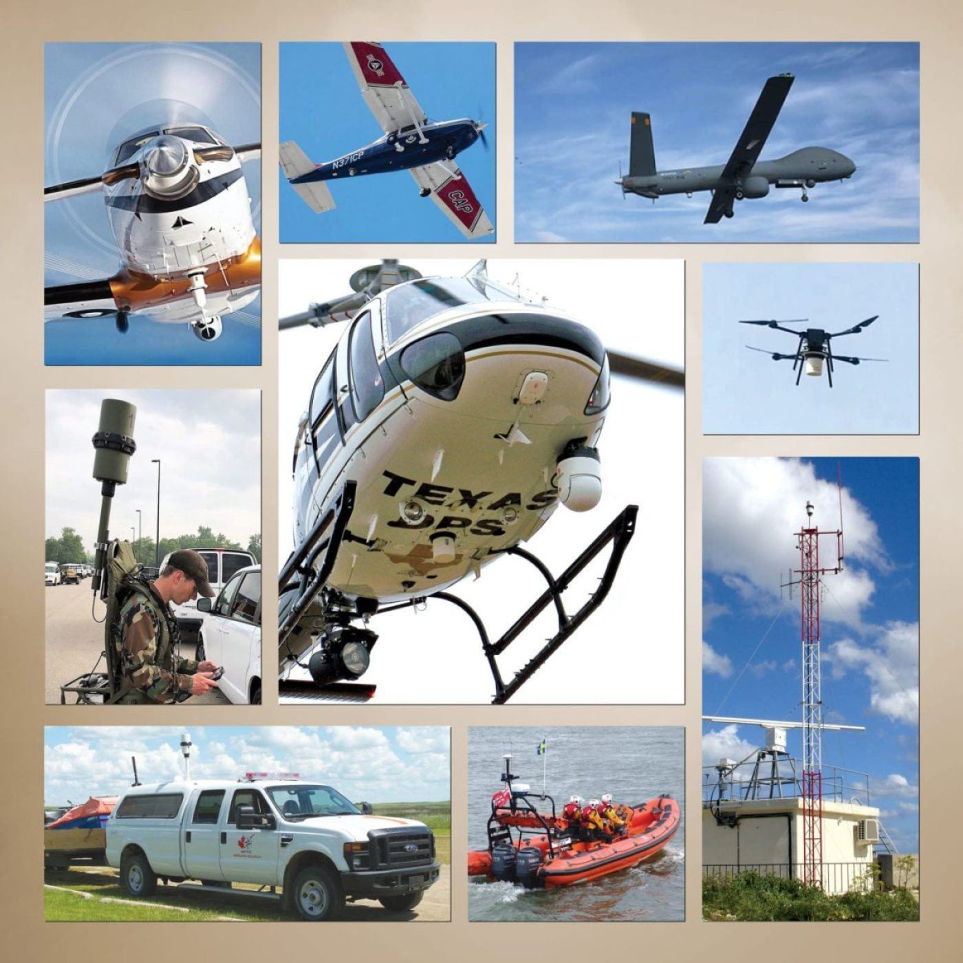 "RHOTHETA offers a comprehensive line of VHF/UHF radio direction finders for air traffic control, search and rescue, and vessel traffic services. The product lineup includes units designed for installation on shore-based towers, manned and unmanned aircraft, vessels, motor vehicles, as well as a ""manpack"" configuration for portable use. (ROTHETA image)"