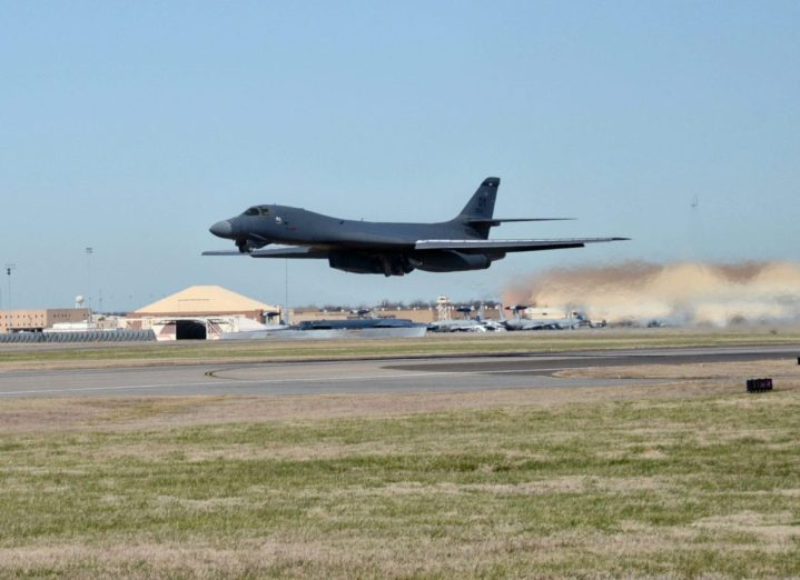 A B-1B Lancer bomber from Dyess Air Force Base, Texas, takes off from Tinker AFB, Okla., Dec. 15, 2015, following completion of the Integrated Battle Station modification. The eight-year project to install the IBS on the B-1B Lancer fleet, which began in 2012, was completed in September 2020. (U.S. Air Force photo by Kelly White) (U.S. Air Force photo/Kelly White)