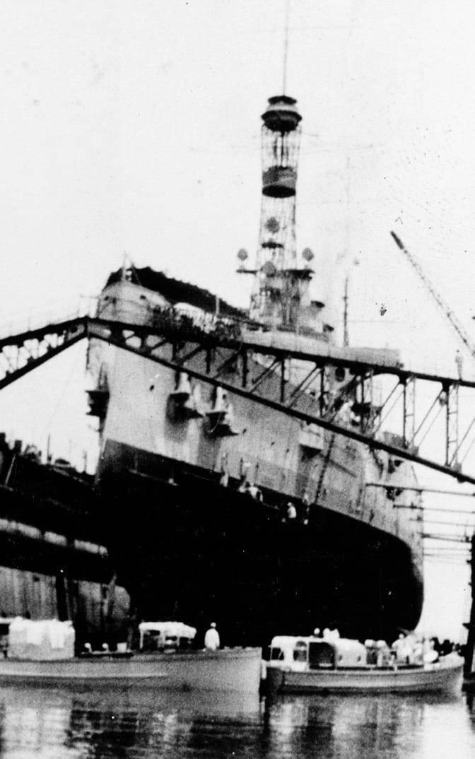 USS Pittsburgh in drydock at Rio de Janeiro, Brazil. By the time the ship left the drydock, virtually her entire crew had been infected, and 58 had died.