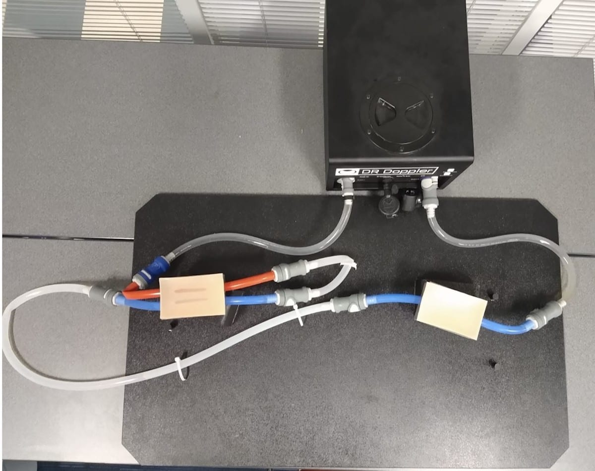 This photo depicts the tubing structure that connects to a pump to pull simulated blood in and out of the body. The ECMO procedure utilizes the femoral vein in the groin or jugular vein in the neck. Image Credit: Anusha Muralidharan, Health Care Engineering Systems Center at Illinois