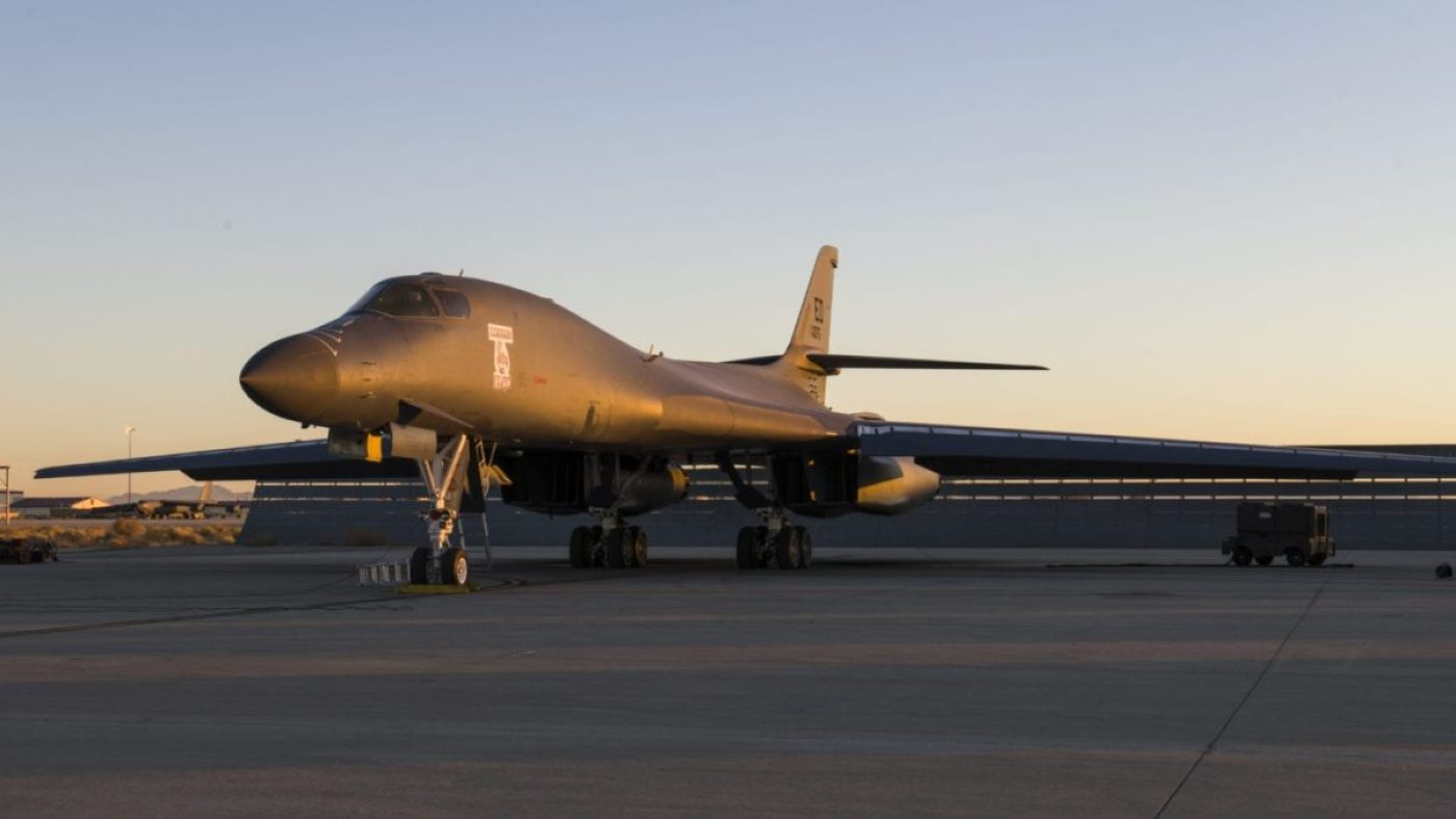 A B-1B Lancer assigned to the 419th Flight Test Squadron, 412th Test Wing, prepares for an external release demonstration with a Joint Air-to-Surface Standoff Missile attached to an external pylon, at Edwards Air Force Base, California, Dec. 4. (Air Force photo by Giancarlo Casem)