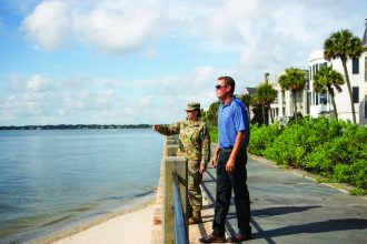 Lt. Col. Rachel Honderd and Wes Wilson discuss the Charleston Peninsula Coastal Flood Risk Management Study and how it will tie into the infrastructure already in place. (Photo Courtesy Charleston District)