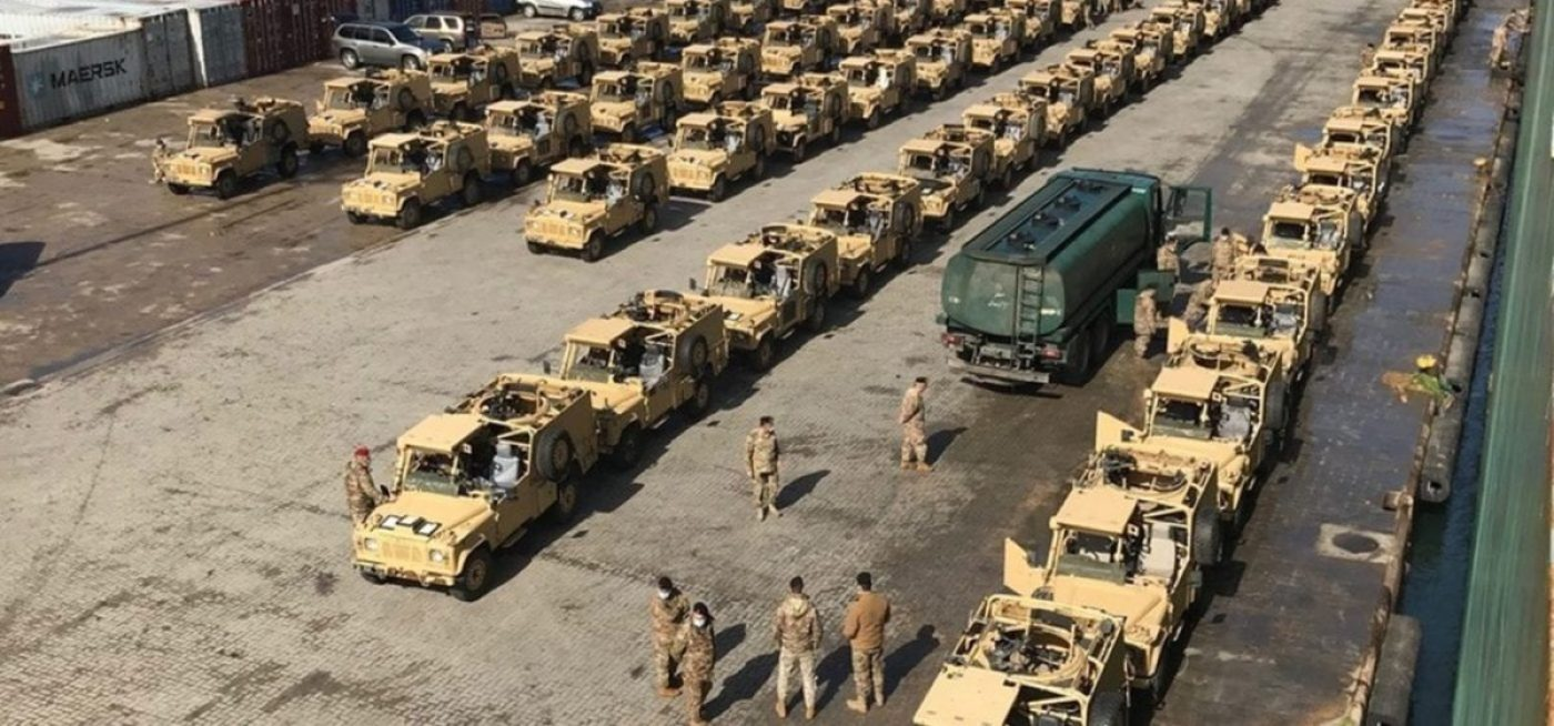 British Army personnel make final preparation for 100 Revised Weapons Mounted Installation Kit (RWMIK) Land Rovers for donation to the Lebanese Armed Forces (LAF). (British Army photo)