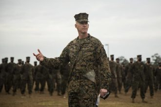 Maj. Gen. James F. Glynn, commander of Marine Forces Special Operations Command, addresses MARSOC personnel during the rededication ceremony at Camp Lejeune, N.C. Feb. 22, 2021. On Feb. 24, 2006, the Marine Corps combined several of its specialized and uniquely trained units, gave them a name and a commander and directed them to become pioneers in a new chapter of Marine Corps history. (U.S. Marine Corps photo by Sgt Jesula Jeanlouis)