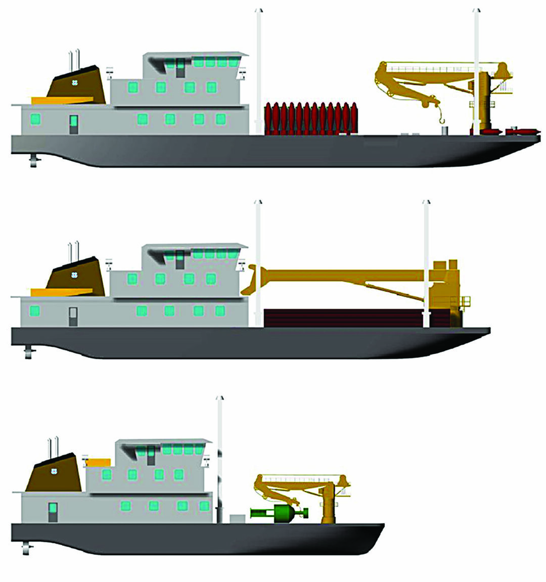 Notional Coast Guard designs for, from top to bottom, river buoy tender, inland construction tender, and inland buoy tender variants of the Waterways Commerce Cutter. (U.S. Coast Guard image)