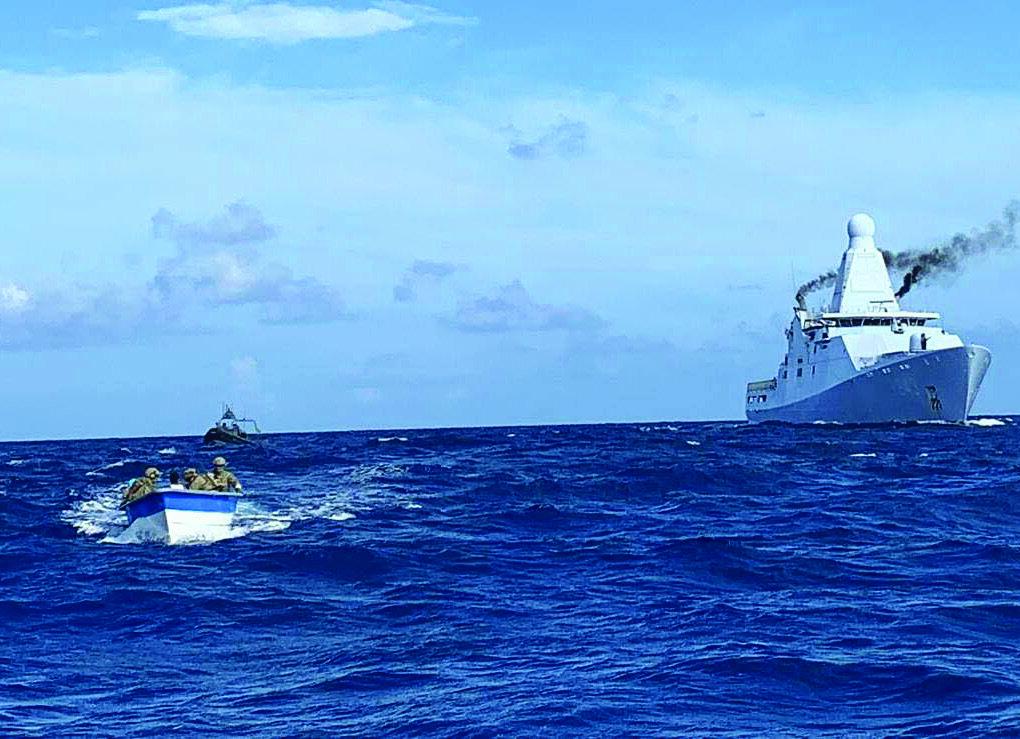 The Royal Netherlands Navy patrol ship HNLMS Groningen embarks a U.S. Coast Guard Law Enforcement Detachment (LEDET) for counternarcotics interdictions in the Caribbean. (Royal Netherland Navy photo)