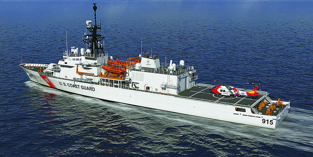 An artist's conception of the Offshore Patrol Cutter class now under construction, which will replace the Famous-class and Reliance-class medium endurance cutters. (Eastern Shipbuilding Group image)