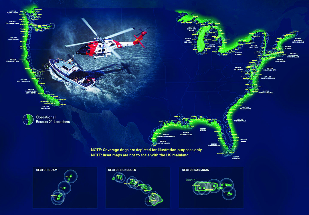 A graphic depicting Rescue 21 coverage around the United States and its territories. (General Dynamics Mission Systems Graphic)