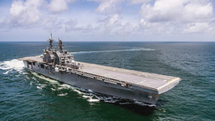 The U.S. Navy amphibious assault ship USS Tripoli (LHA-7) underway in the Gulf of Mexico during builder's trials on 15 July 2019. (U.S. Navy photo courtesy of Derek Fountain, Huntington Ingalls Industries)