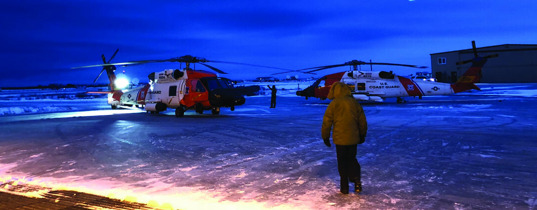 Air Station Kodiak aircrews work to demobilize Forward Operating Location Kotzebue, Alaska, Nov. 1, 2018. Aircrews continue to be deployed to Kotzebue during Alaska's summer months in support of Operation Arctic Shield each year. (U.S. Coast Guard photo)