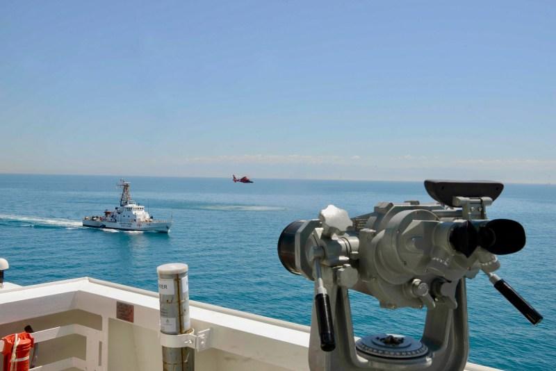 Georgian coast guard vessel Dioskuria (P 25) and USCGC Hamilton (WMSL 753) conduct passing and communication exercises