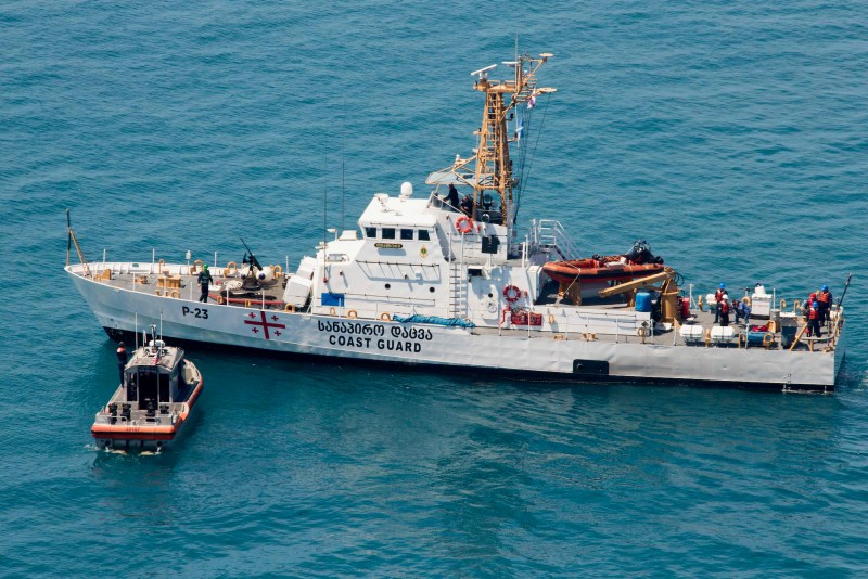 USCGC Hamilton and Georgian coast guard vessels Ochamchire (P 23) and Dioskuria (P 25) conduct simulated towing exercises in the Black Sea