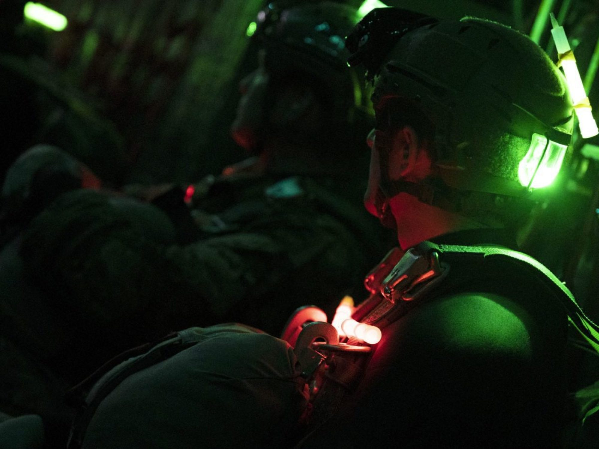 U.S. Air Force Special Tactics operators assigned to the 24th Special Operations Wing prepare for a night insertion from an MC-130H Combat Talon II assigned to the 15th Special Operations Squadron as a part of night insertion training during Emerald Warrior 21.1 at Hurlburt Field, Florida, Feb. 24, 2021. (U.S. Air Force photo by Senior Airman Edward Coddington)