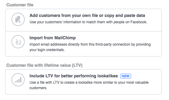 Screen Shot of Customer File source options for creating Facebook Lookalike Audiences