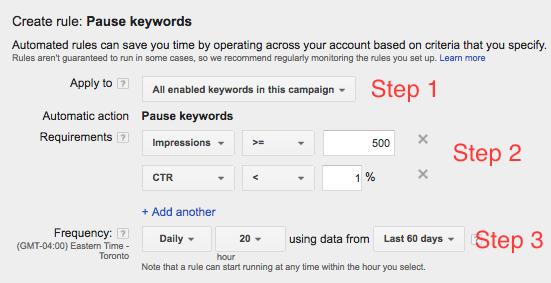 Screen Shot of Pause Keyword Rule in Google AdWords