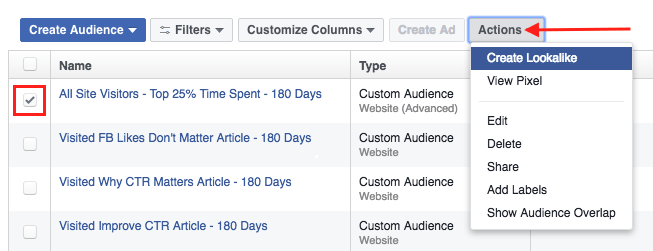 Screen Shot of How to Create a Lookalike Audience