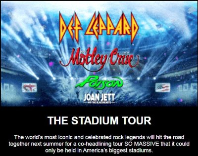 Def Leppard Motley Crue Newsletter announcement