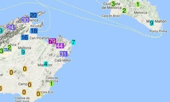 Les pluges deixen 79 litres a la Colònia de Sant Pere en una hora
