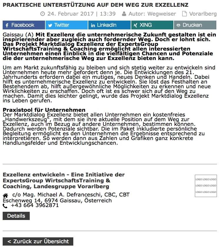 Presse Bericht Marktdialog Exzellenz Wirtschaftszeit.at 24.2.2017