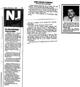 newspaper clipping about the murder of Jimmy Stanaway