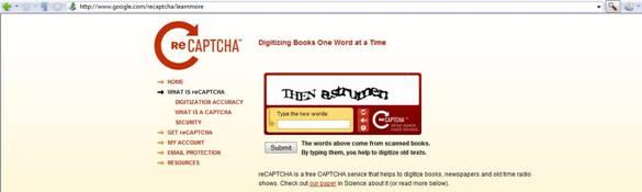 Captura del sitio web de reCAPTCHAS