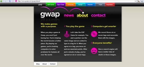 Captura del sitio web de gwap