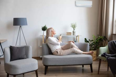 Ductless AC inside the home.