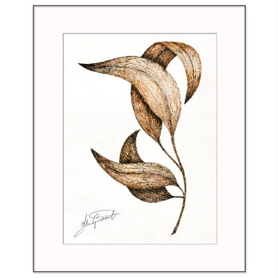 Dancing Leaves 1 is a fine line pen and ink drawing on paper by deGroot-Arts