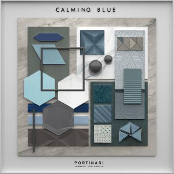 Portinari moodboard Calming Blue: inspiração no céu e no mar para relaxar