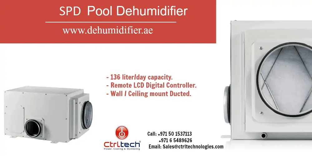 SPD swimming pool dehumidifier for indoor pool rooms.