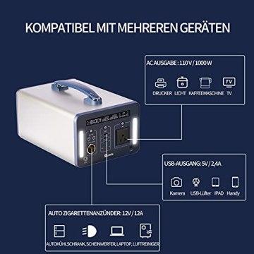 1000 Wh/270000 mAh Rumia Tragbare Powerstation, 230V AC, 2 DC-Port, 3 USB, QC 3.0 und USB Typ C Mobiler Energiespeicher Solar Generator Lithium Ionen Power Station für Reise Camping Emergency - 6