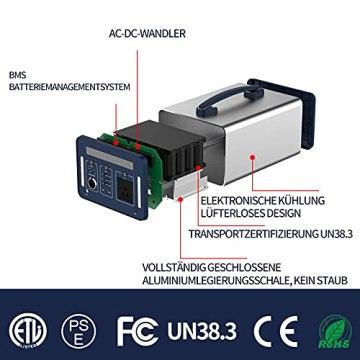 1000 Wh/270000 mAh Rumia Tragbare Powerstation, 230V AC, 2 DC-Port, 3 USB, QC 3.0 und USB Typ C Mobiler Energiespeicher Solar Generator Lithium Ionen Power Station für Reise Camping Emergency - 7