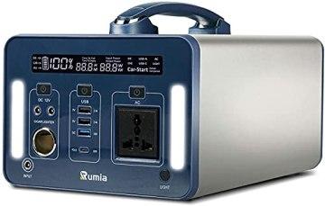 1000 Wh/270000 mAh Rumia Tragbare Powerstation, 230V AC, 2 DC-Port, 3 USB, QC 3.0 und USB Typ C Mobiler Energiespeicher Solar Generator Lithium Ionen Power Station für Reise Camping Emergency - 1