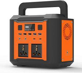 Tragbares Power Generator,80000mAh Mobiler Energiespeicher Solar Generator Lithium Ionen Power Station mit 2 AC/QC 3.0/Typ-C Ausgang und 4W Ultrahelles LED Licht für Outdoor Camping (Orange) - 1