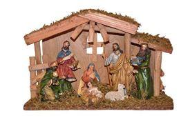 Unbekannt Weihnachtskrippe mit Figuren (handbemalt), Heilige Familie mit heiligen 3 Könige und Schaf mit echtem Moos, Weichnachten, Holzkrippe, Krippe aus Holz, - 1