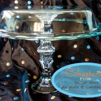 Dollar Store Crafts -Cake Plate from candlesticks