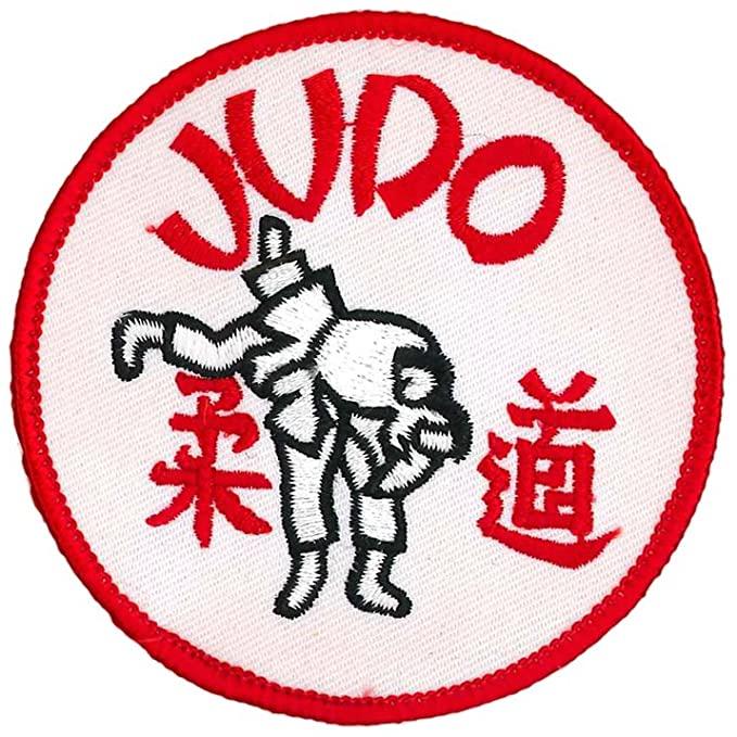 Parche rojo con judocas y texto judo