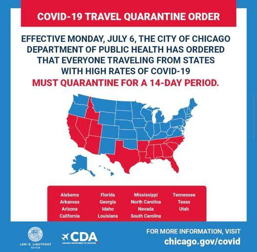 Travel Alert: Travelers Arriving from 15 States Must Self-Quarantine