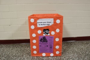 decorated shoe donation box