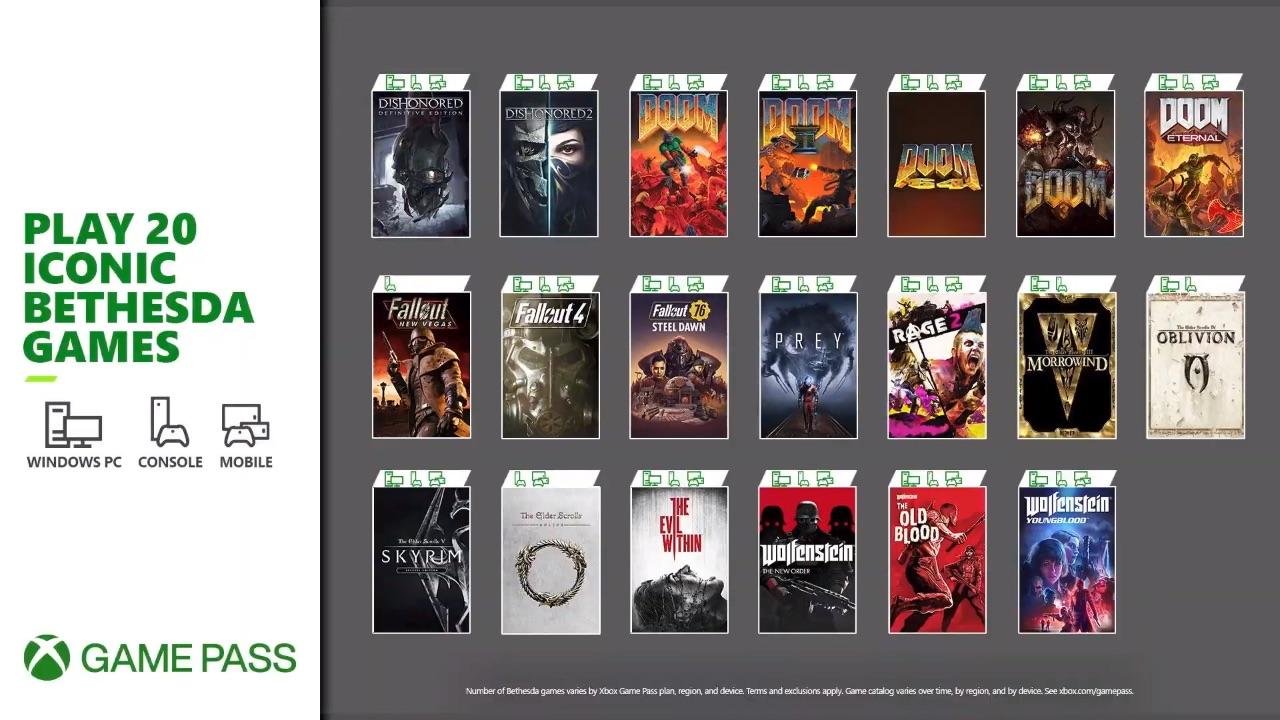 Juegos de Bethesda en Xbox Game Pass