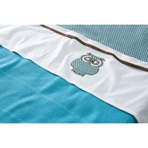 Jollein Laken en sloop 120x150cm Organic Owl turquoise/brown