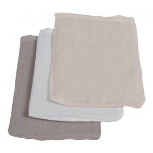 Jollein Hydrofiel washandjes grijs/antraciet/wit (3 stuks)