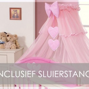 My Sweet Baby Sluier Voile Roze (incl Sluierstang)