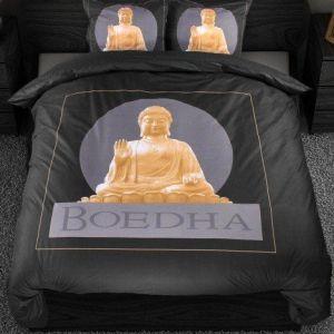A-Keuze - Dekbedovertrek Boeddha Zwart/Goud 200x200/220cm