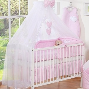 3-delig Bedset Two Hearts Voile Dots/Roze