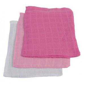 Jollein Hydrofiel washandjes fuchsia/roze/wit (3 stuks)