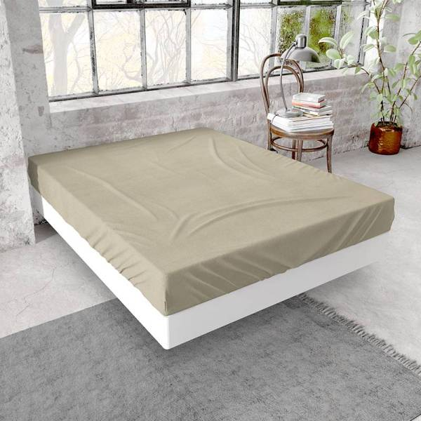 DreamHouse Bedding Flanellen Hoeslaken - Taupe 160 x 200/210 cm