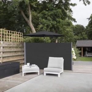 909 Outdoor Oprolbaar Windscherm Zwart - 150 x 300 cm