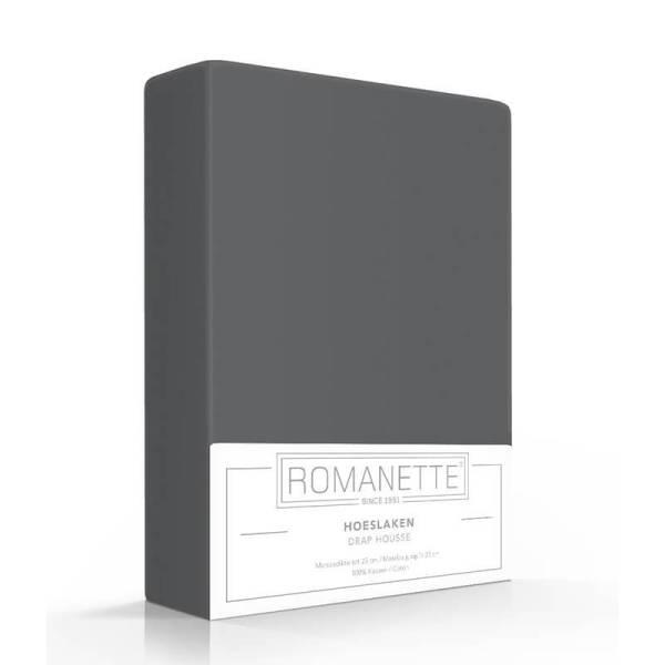 Romanette Luxe Verkoelend Hoeslaken Katoen - Antraciet 200 x 200
