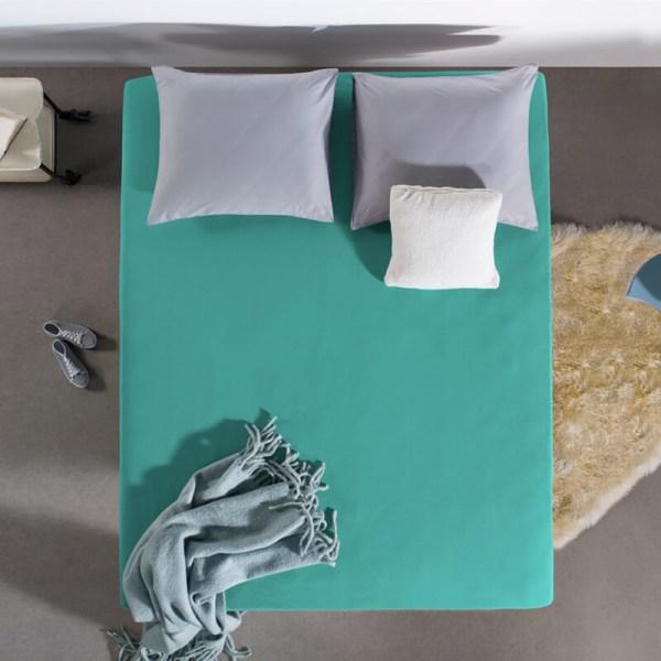 Jersey Hoeslaken - 80/90/100x200 cm - Blauw Groen - Home Care - Ga naar Dekbed-Discounter.nl & Profiteer Nu